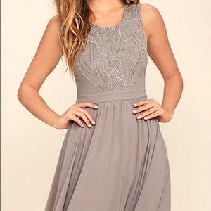 Lulus Twinkle In My Eye Grey Beaded Maxi Dress